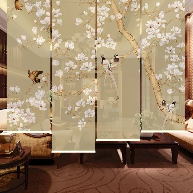 chinese printing roller blind door curtain with flower and bird painting buy printing roller blind printing door curtain flower and bird painting