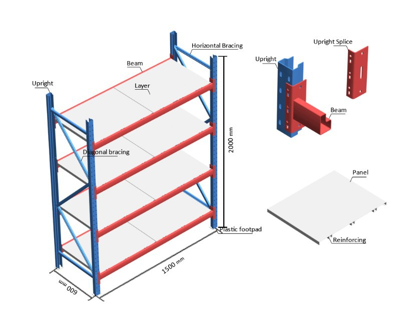 Warehouse Storage Long Span Steel Shelf Shelving System