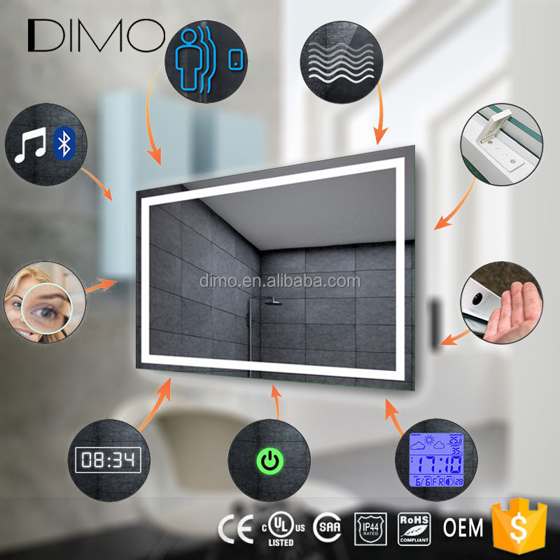 Led Lumineux Salle De Bains Ecran Tactile Intelligent Miroir Prix Avec Bluetooth Radio Horloge Temperature Miroirs De Salle De Bain Id De Produit 500008764651 French Alibaba Com