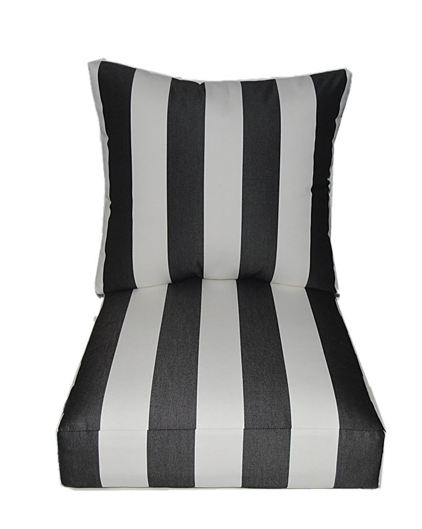 buy sunbrella cabana classic black and white stripe on Black And White Striped Outdoor Seat Cushions id=45439
