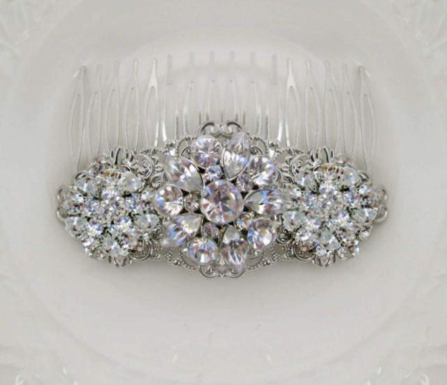 buy wedding hair clip, crystal barrette, bridal comb, silver
