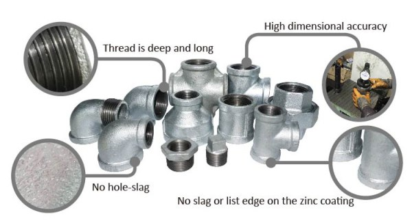 Pipe Fitting Names And Parts Black Malleable Tee Female ...