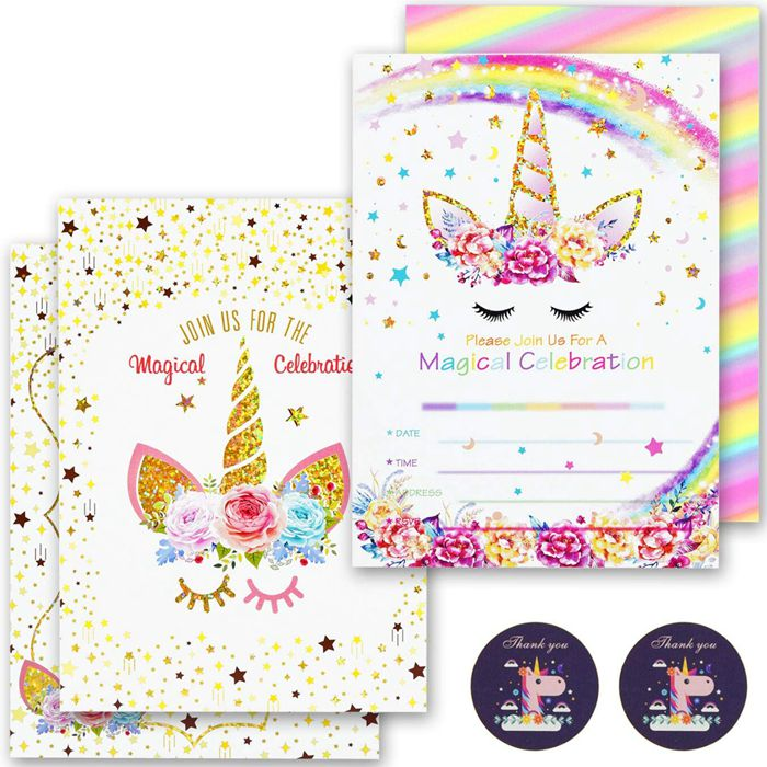24pcs unicorn invitations with 24 envelopes rainbow glitter unicorn birthday party invitation cards for kids birthday buy unicorn