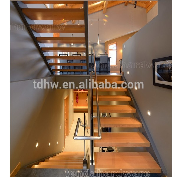 Double Spine Metal Straight Stair With Wood Tread Glass Railing | Metal Stairs With Wood Treads | Straight Steel | Single Steel Stringer | I Beam | Metal Railing | Timber