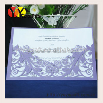 Whole Laser Cut Pearl Paper Official China Business Meeting Invitation With Printed Or Gold Foil Writing