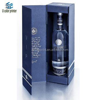 2017 Customized Blue Whiskey Box Packaging Magnetic
