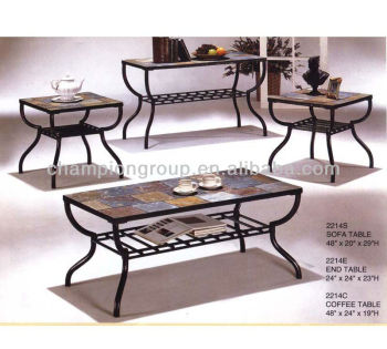 mx-2214 living room coffee table set with metal frame and tile top