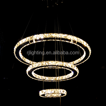 China Whol Color Changing Wireless Remote Control Led Circular Lamp Modern Crystal Chandelier Lighting For Home