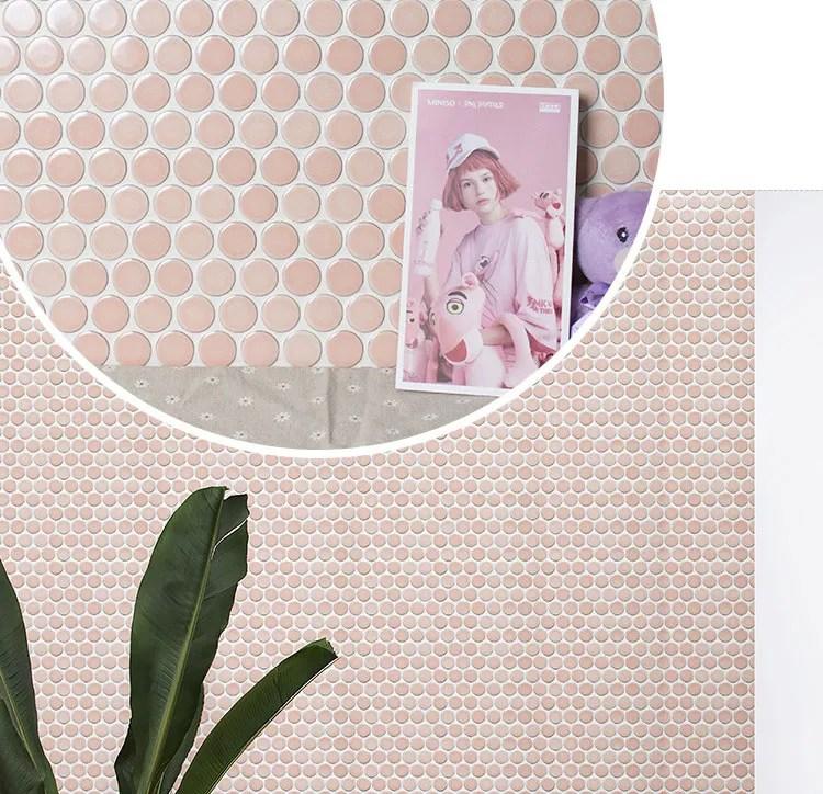 foshan nordic 28mm penny type pink backsplash ceramic wall circular round mosaic tile buy round mosaic tile circular mosaic tile pink mosaic tile