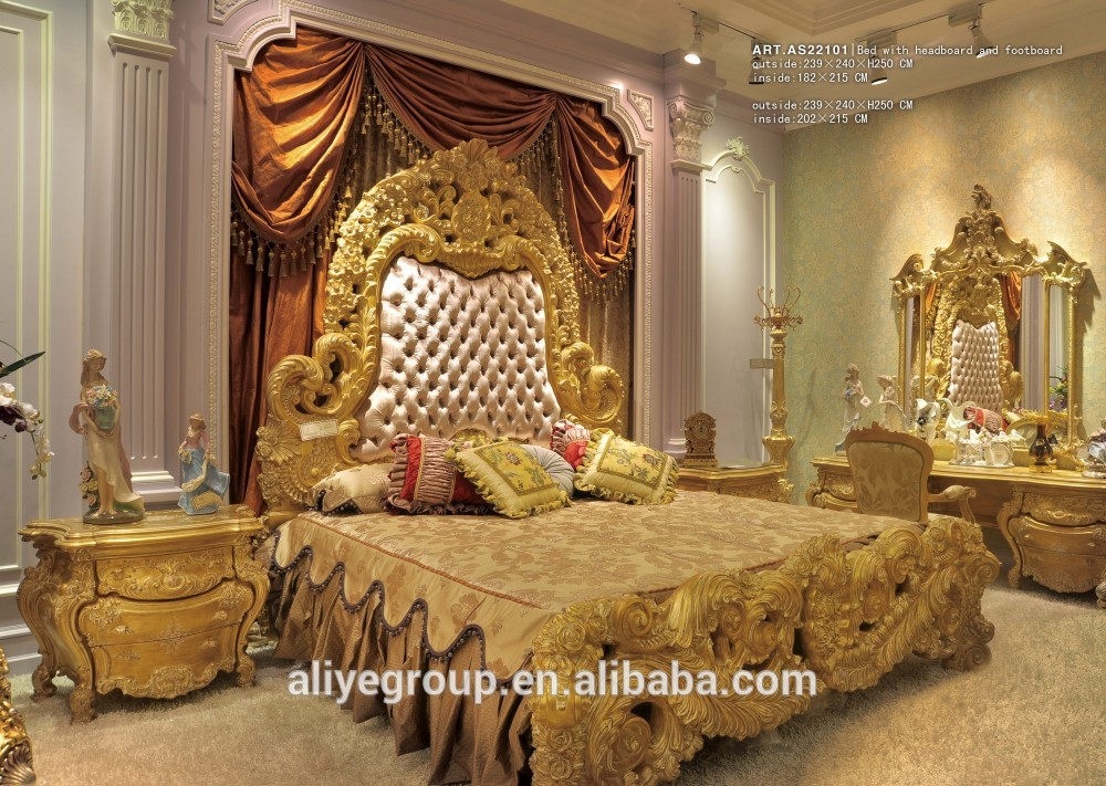 Art22101 Luxurious Gold Color Hand Carving Wooden Bedroom