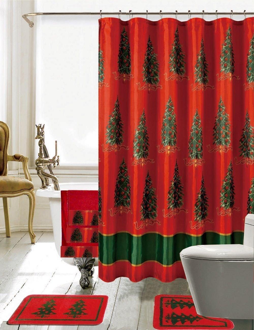 Buy 18 Pc Christmas Bathroom Set Shower Curtain 12 Rings