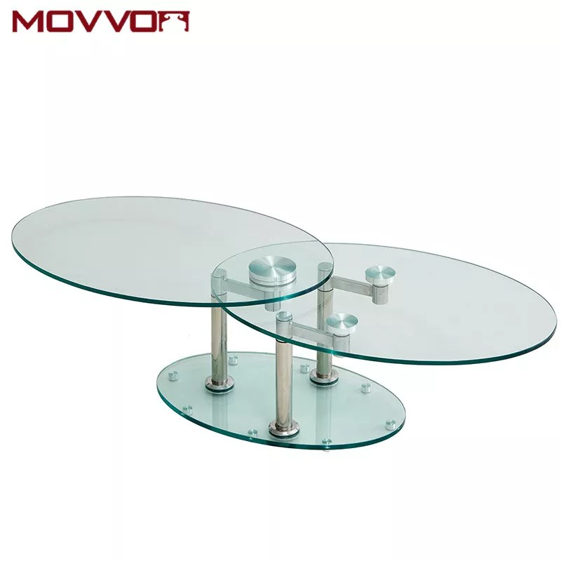 modern functional tempered glass top oval full swivel coffee tables with stainless steel legs buy glass coffee table oval coffee table coffee table