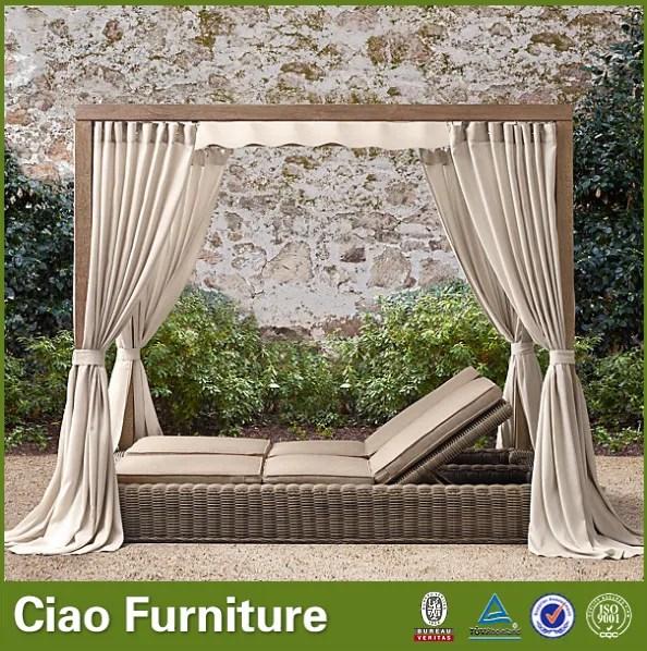 outdoor garten meer sonnenbank doppel lounge tag bett mit vorhang buy tag bett aussensonnenbank doppel lounge bed product on alibaba com