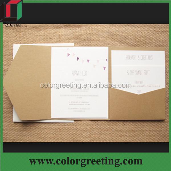 Customized Design Kraft Paper Envelope Por Pocket Fold Wedding Invitation