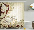 Ambesonne Ethnic Shower Curtain By Fabric Bathroom Decor Set With Hooks Arabesque Floral Figure Mandala Middle Eastern Stylized Swirled Lines Art Print Pearl Burgundy 75 Inches Long Shower Curtain Sets