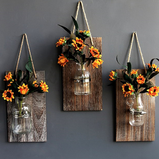 Decorative Mason Jar Wooden Wall Decor - Rustic Wall ... on Hanging Wall Sconces For Flowers id=69190