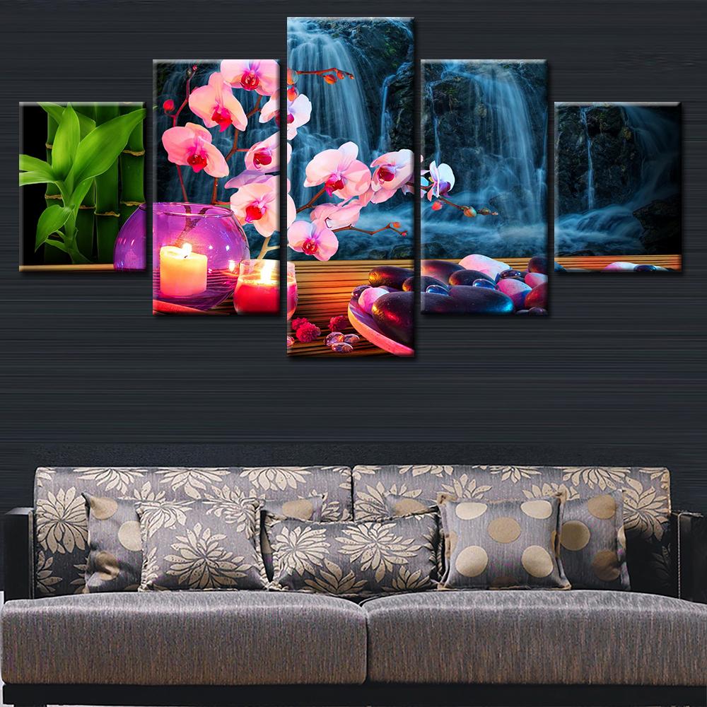 peinture hd de fleurs tendance 5 pieces pour decoration murale dessin d art decoration moderne de salon sans cadre buy impression d art de mur de