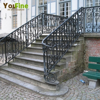 Home Decorative Outdoor Wrought Iron Stair Railings View | Decorative Wrought Iron Handrail | Forged Iron | Interior | Classic | Ornamental | Steel