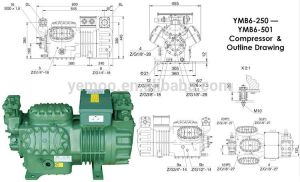 Yemoo 25hp Cold Roo Piston Bitzer Semihermetic Compressor