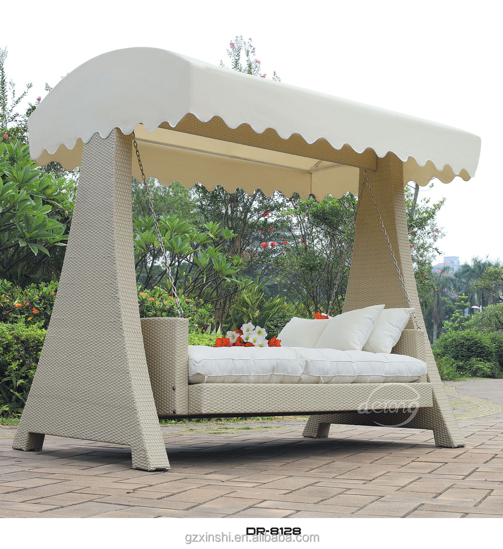 Popular Garden Ratttan Swing Bed With Canopy Outdoor