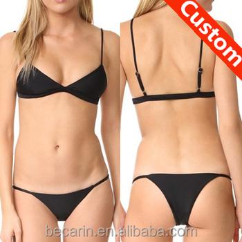 Open Hot Sexy Girl Black G String Bikini Thong Bikini Swimwear