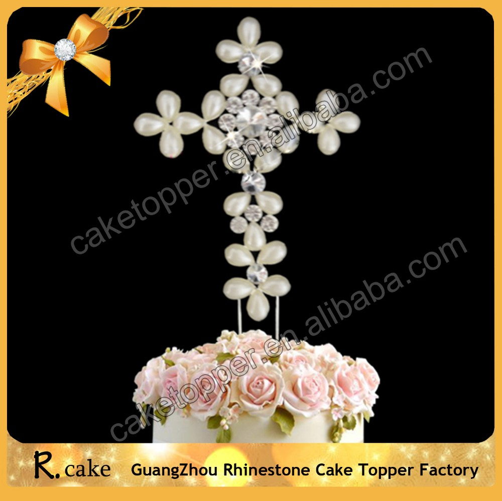 High Quality Crystal Big Diamante Cross Cake Topper For