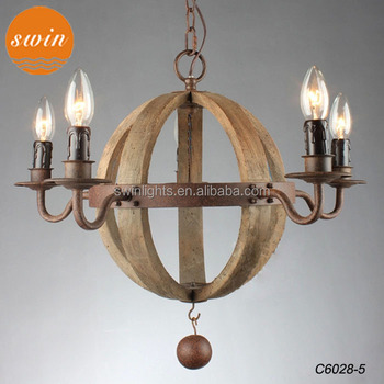 2017 American Vintage Wine Barrel Planet 5 Light Chandelier In China Retro Wood Round