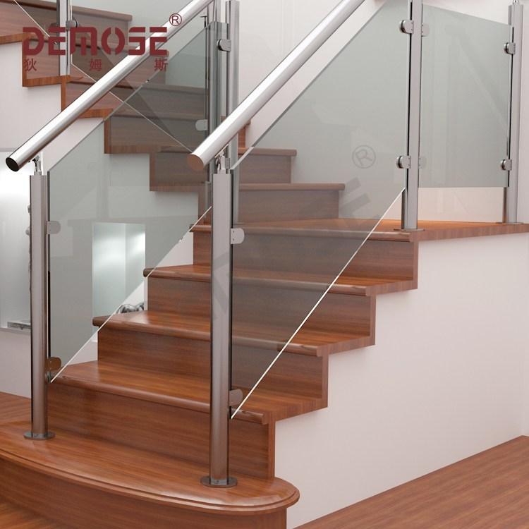 Demose Metal Railing Glass Railing Modern Stair Railings Buy   Modern Glass Stair Railing   Dark Wood   Banister   Wall Mounted   Cost   Basement