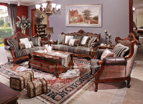 Antique Wood Carving Sofa Design,Leather And Fabric Sofa