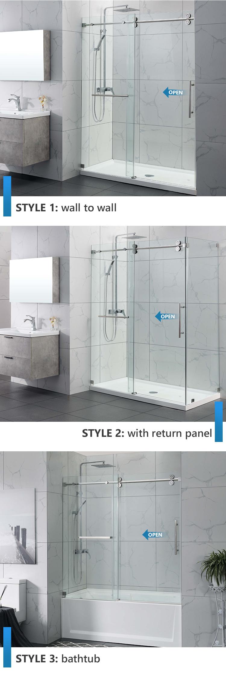 Custom Frameless Glass 2 Panel Shower Doors 10mm Glass Door Transparent Toilet Bathtub Shower Room Buy 2 Panel Shower Room Shower Cabins Shower