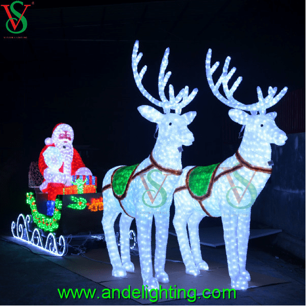24v Large Outdoor Christmas Light With Santa And Reindeer