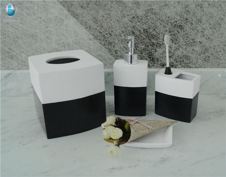 ensemble d accessoires de salle de bain en resine 4 pieces blanc et noir cadeau souvenir amusant fait a la main buy coffret cadeaux iers