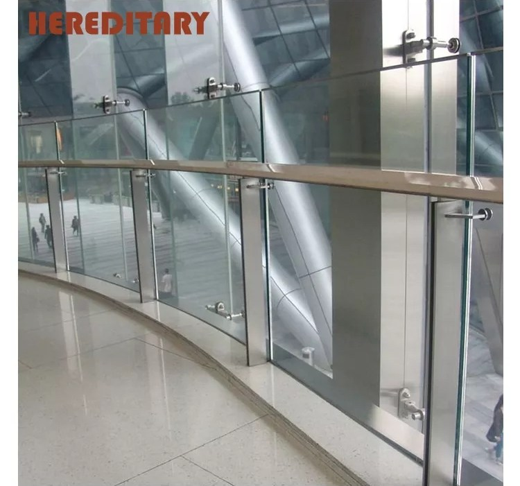 Polish Finish Tempered Glass Balcony Railing Designs Modern Metal | Stair Railing Design Modern With Glass | L Shape | Interior Residential Metal | Simplistic | Grill | Button Glass