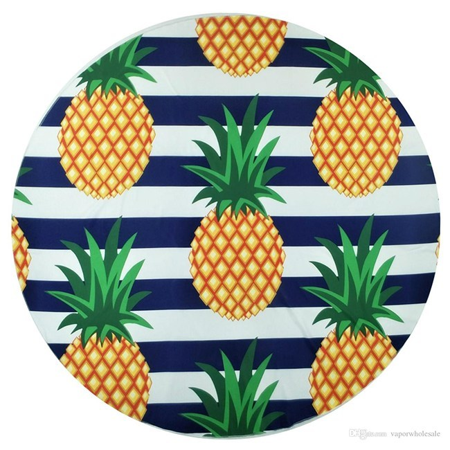 Large thick round pineapple print custom beach towel with tassel fring