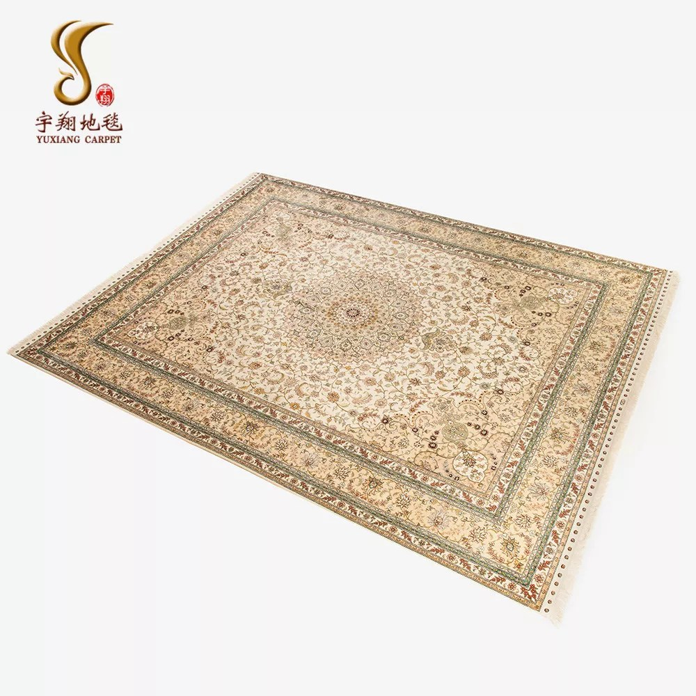 yuxiang 9 12 pi de luxe traditionnel beige dore fleur grand tapis medaillon central fait main en soie grand tapis pour russie buy grand tapis grands