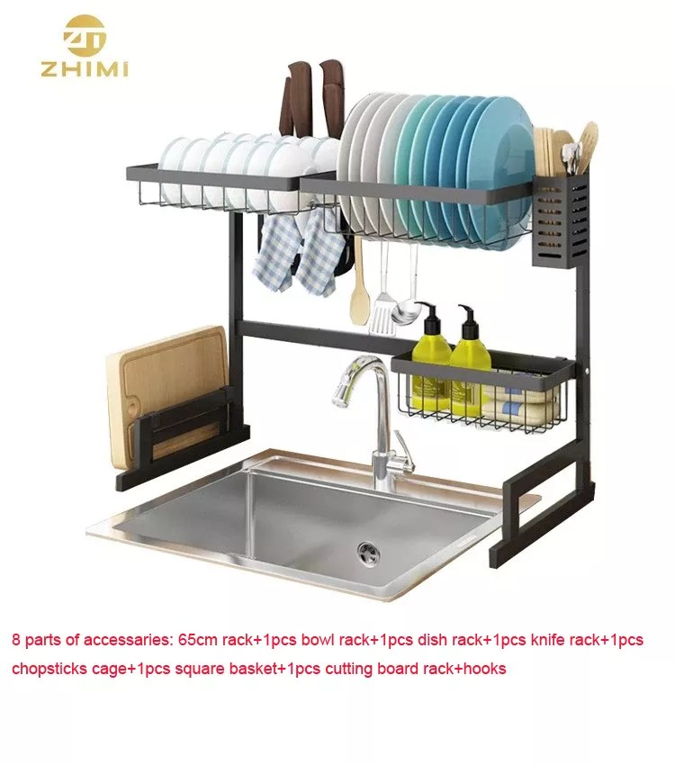 factory hot sale 2 tiers black stainless steel home kitchen plate drying storage 65cm over sink dish drainer rack buy over the sink dish drainer
