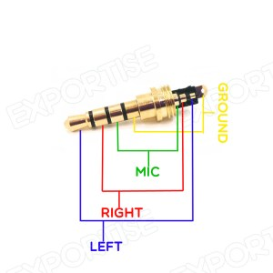 Red Copper Gold Plated 35mm 4 Pole Male Stereo Jack Plug