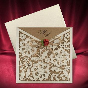 Rustic Wedding Invitation Card Unique Invites Craft Paper Invitations Laser Cut