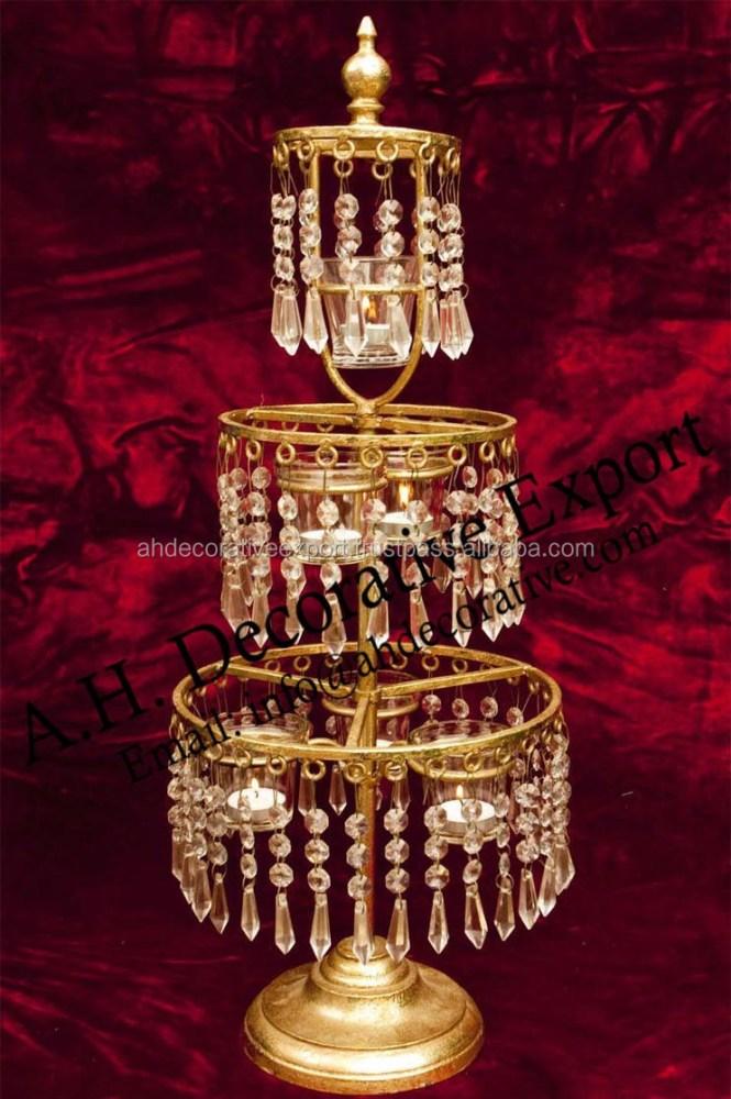 Crystal Three Tier Chandelier Centerpiece Gold Candle Holder