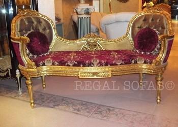 Luxury Maroon Red Gold Antique Love Seat Hallway Bench