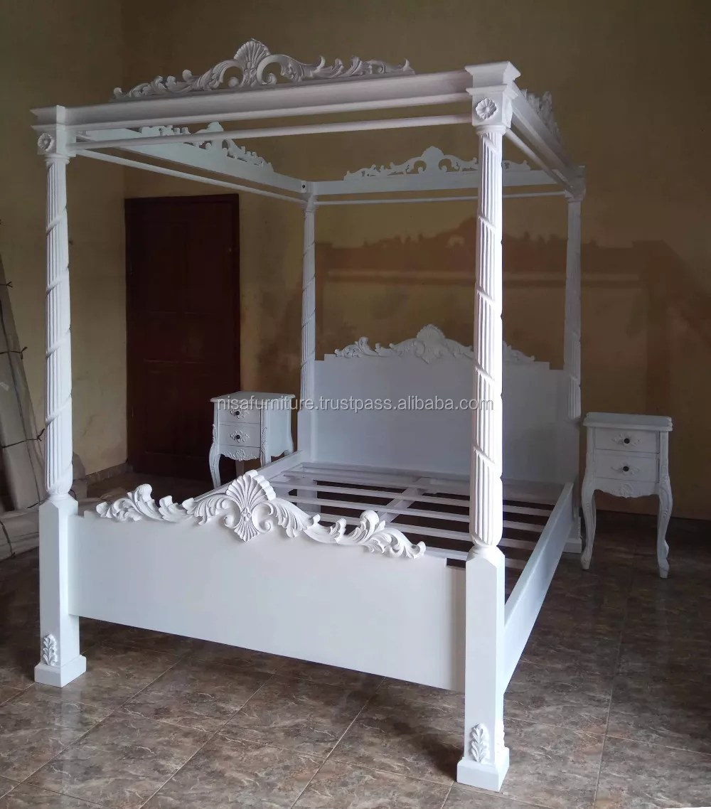 Solid Wooden French Style Antique White Four Poster Canopy Beds Otherhomefurniture Buy Poster Bed Otherhomefurniture Four Poster Canopy Bed Product On Alibaba Com