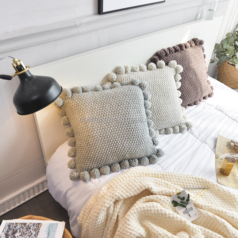pom pom tassel cable knit throw pillow cover sweater knitting square pompom fringe crochet throw pillow cushion cover case buy knit throw pillow