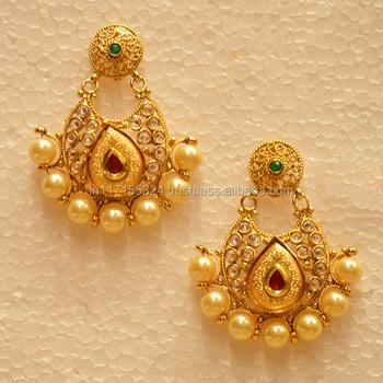 Golden Kundan Earrings With Big Pearls For Women Buy All