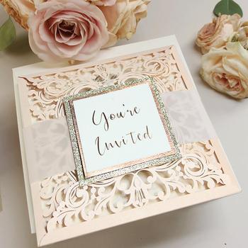 Laser Cut Invitations Belly Band Light Peach Glitter Pocket Folder Elegant Wedding Weding Invitation Diy Product On