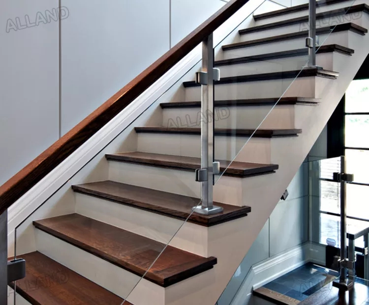 Home Railing Stainless Steel Post Glass Stair Handrail Interior | Glass Balustrade With Wooden Handrail | Contemporary | Glass Panel | Interior | Guardrail | Atrium