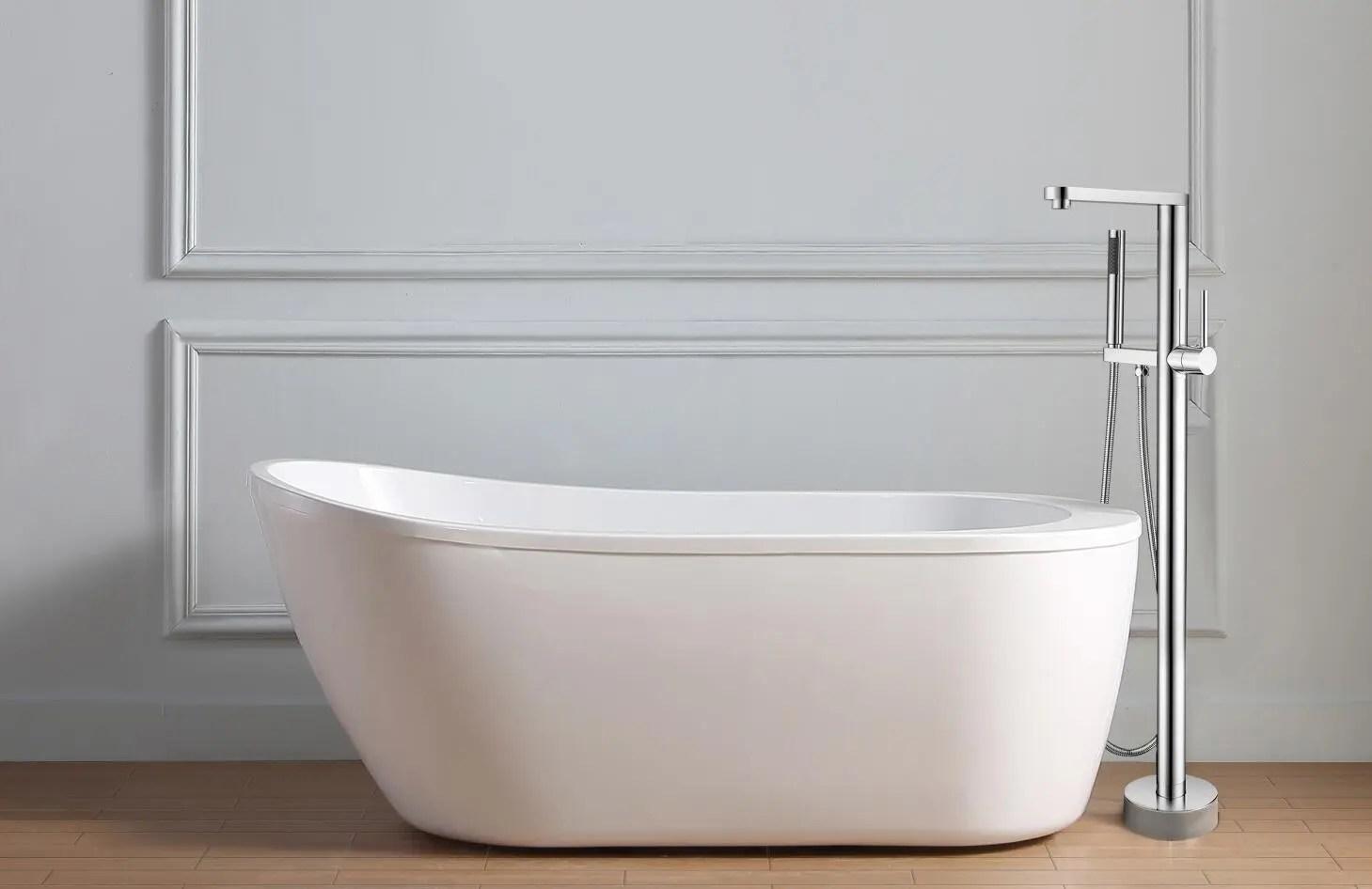 chrome floor mounted shower bath tub faucet free standing tub filler brass freestanding bathroom bathtub faucets buy cupc watermark free standing