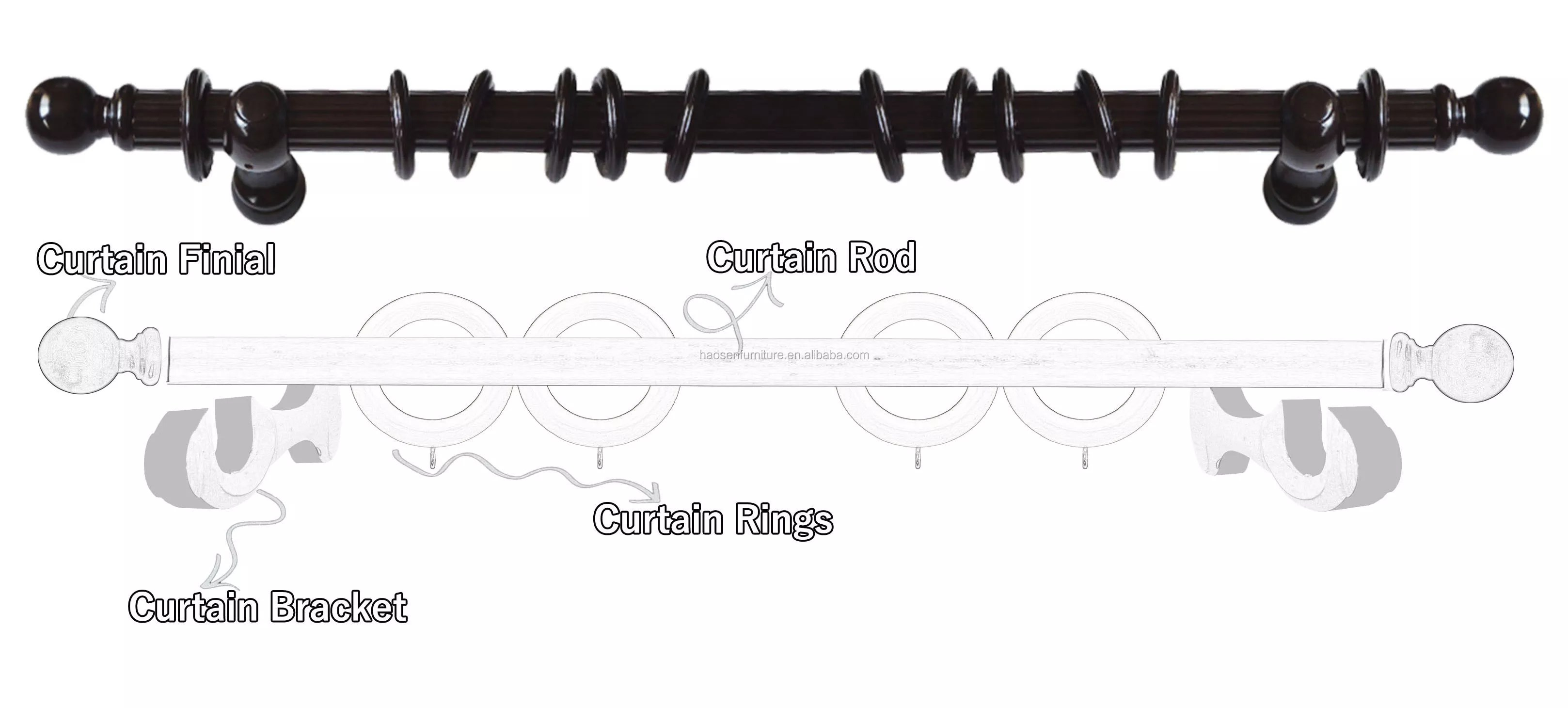 reeded curtain rod with accessories set