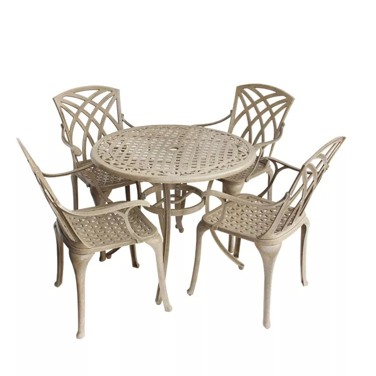 5 piece cast aluminum garden patio furniture dining set round 1 table and 4 chairs buy patio furniture dining set patio furniture dining set round