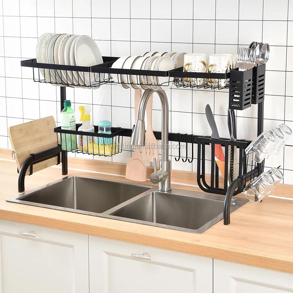 65cm79cm85cm length width over sink dish drying rack dish drainer rack kitchen storage holder utensil holder counter organizer view over sink dish