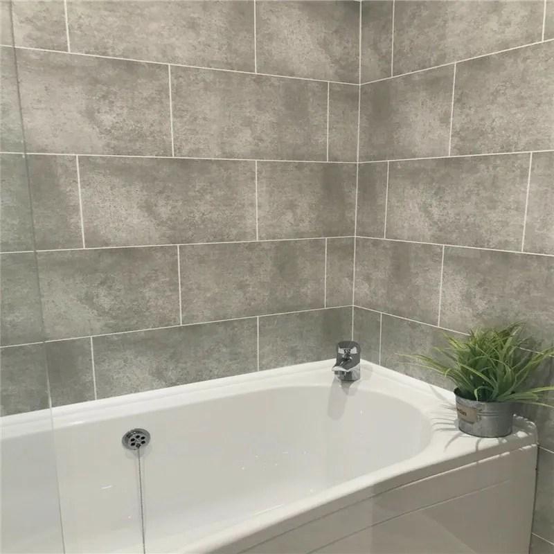 high quality cutline grey tile effect bathroom pvc wall panels shower wet wall cladding buy pvc wall cladding wall panel pvc wall panels product on
